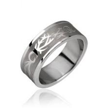 Acél gyűrű - tribal motívum