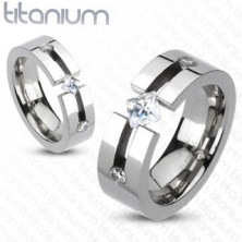Titánium gyűrű - kivágással, négyszögletes és kör cirkóniák