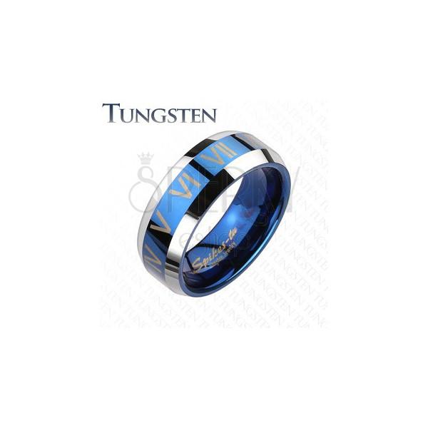 Tungsten gyűrű - kék - ezüst, római számok