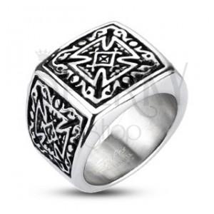Gyűrű nemesacél - pecsét, kereszt