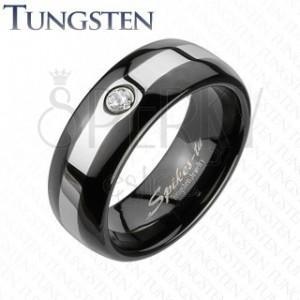 Tungsten fekete gyűrű - ezüst szegély, cirkónia