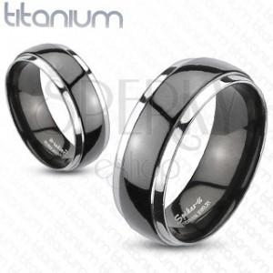 Titánium karikagyűrű - fekete - ezüst