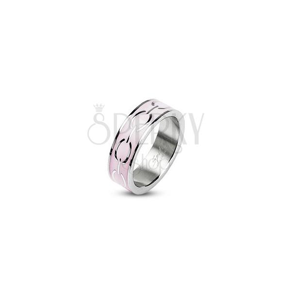 Acél gyűrű - rózsaszín szegély, körök