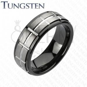 Tungsten csiszolt gyűrű - fekete szélek
