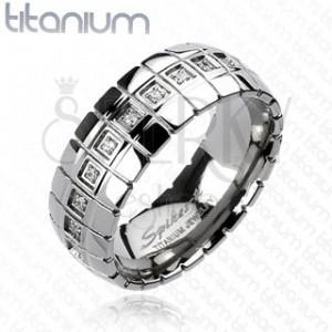 Titánium gyűrű - cirkónia öv, függőleges vonalak