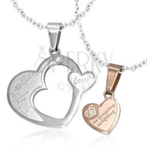 Medál pároknak - arany és ezüst szívek cirkóniával