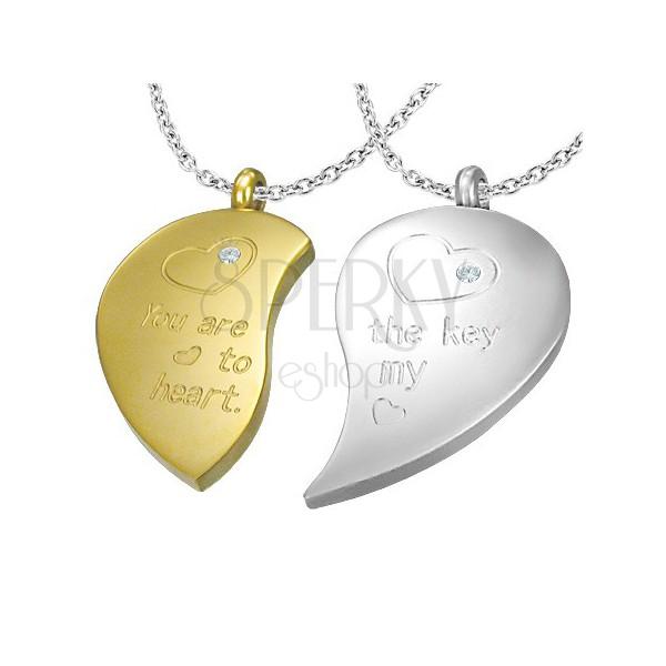 6c125ca35 Medál pároknak - törhető szív cirkóniával   Ekszer Eshop