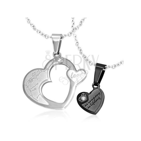 Medál pároknak - ezüst és fekete szív cirkóniával