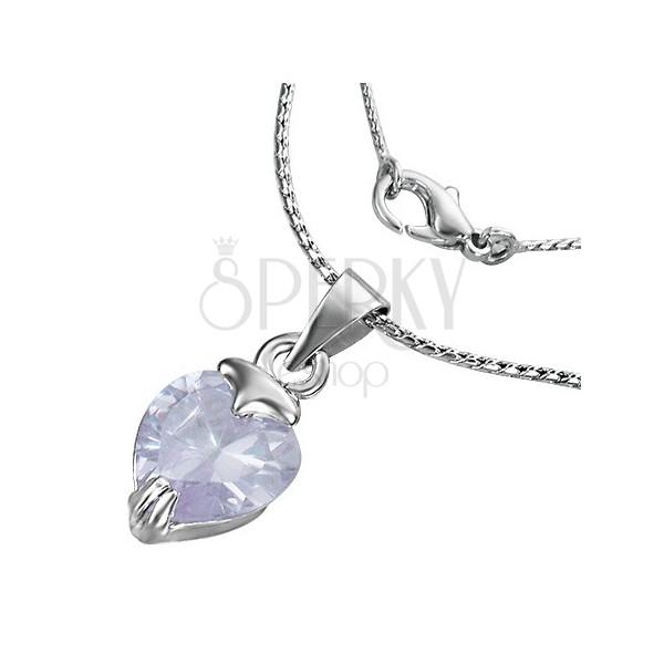 Nyaklánc - szív alakú lila cirkóniával