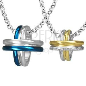 Medál pároknak - kék, arany és ezüst körök