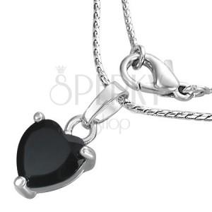 Nyaklánc - fekete cirkónia szív láncon