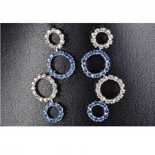 Nyaklánc és fülbevaló szett - tiszta és kék kövecskés körök
