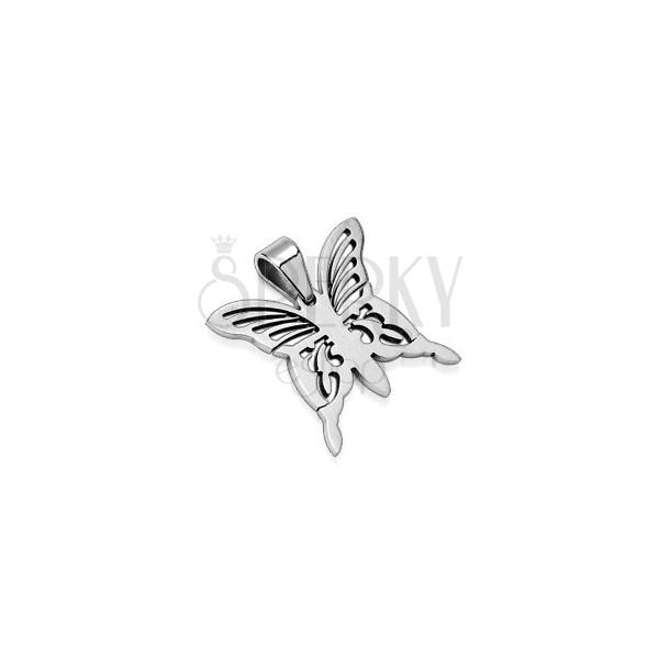 Medál minőségi acélból - díszes ezüst pillangó