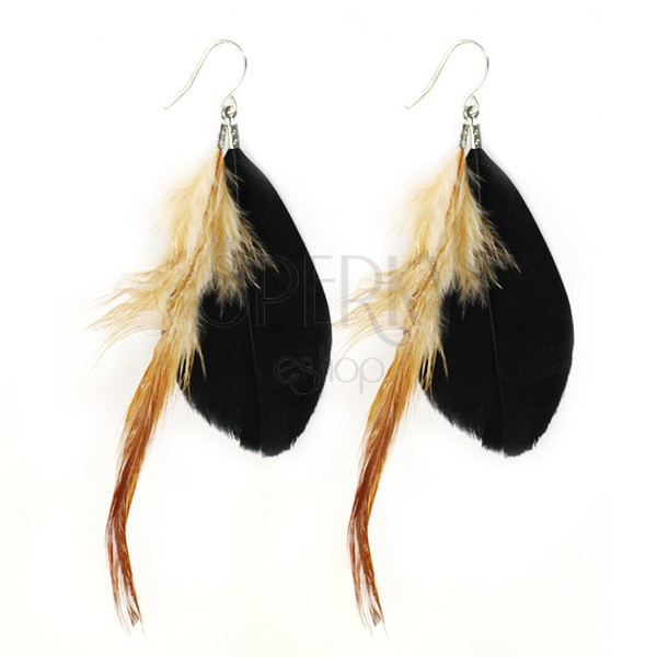 Fülbevaló két tollból - fekete és barna