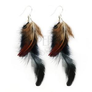 Fülbevaló - fekete és világosbarna tollak