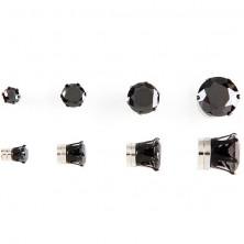 Mágneses fülbevaló - fekete cirkónia kő