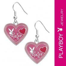 PLAYBOY fülbevaló - rózsaszín zománc szívek