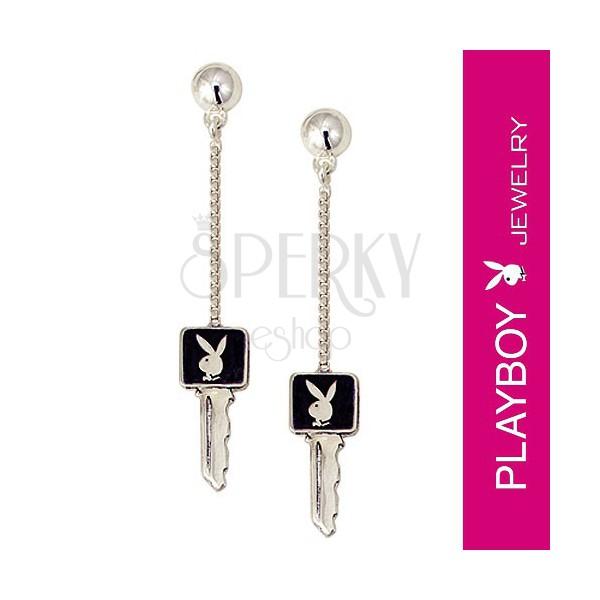 Fülbevaló Playboy nyuszival - kulcs egy láncon