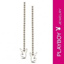 Függő PLAYBOY fülbevaló - lánc és tiszta cirkonkövek