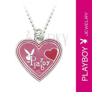 PLAYBOY nyaklánc - rózsaszín zománc szívek és nyuszi