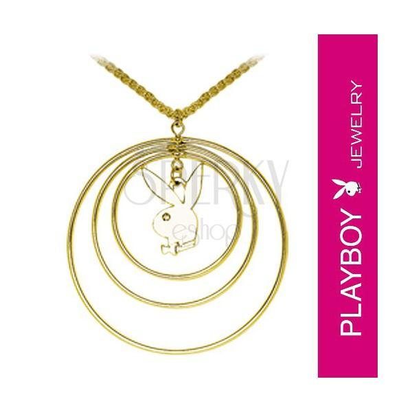 Playboy lánc és medál - három karika, nyuszi és cirkónia