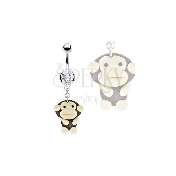 Köldök piercing - FIMO majom medál