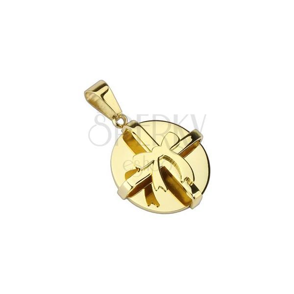 Acél medál - arany kerek csomag és masni