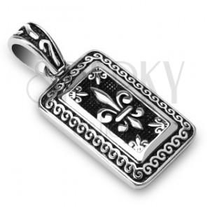 Medál - acél bélyeg, Fleur de Lis, ezüst és fekete színben