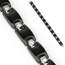 Fekete acél karkötő - H láncszemek, négyzet alakú cirkóniák