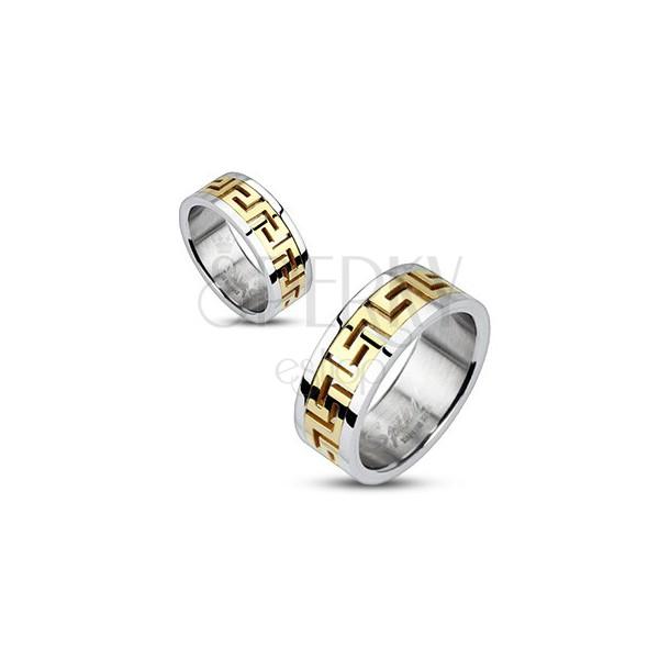 Ezüst acél gyűrű - arany görög minta