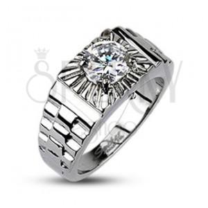 Acél gyűrű - ezüst sugarak, óra stílus