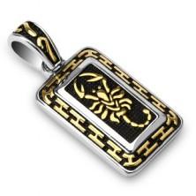 Acél medál - arany skorpió