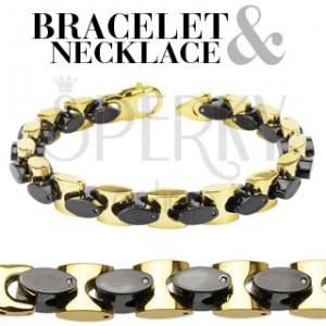 Sebészeti acél nyaklánc és karkötő készlet - arany és fekete