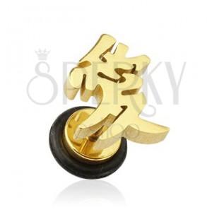 Fake plug fül piercing - ázsiai aranyozott szerelem szimbólum