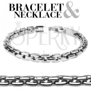 Készlet - acél nyaklánc és karkötő, szögletes részek