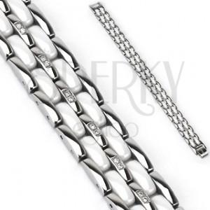 Acél karkötő - tagolt ezüst és fehér sávok, cirkónia