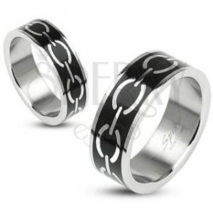 Gyűrű - lánc motívum fekete alapon