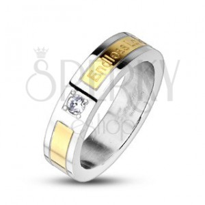 Aranyozott acél gyűrű - Endless Love, cirkónia