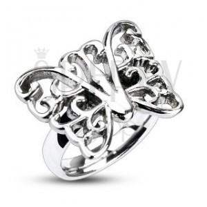 Acél gyűrű - nagy díszített pillangó