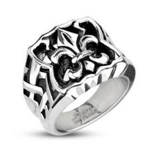 Acél pecsét gyűrű - Fleur de Lis