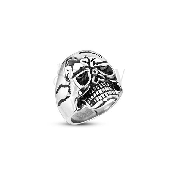 Masszív acél gyűrű - vicsorító koponya
