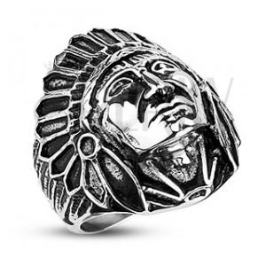 Acél gyűrű - Apacs, fekete patinás