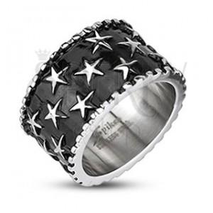 Férfi acél gyűrű - csillagok fekete alapon