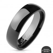 Egyszerű acél gyűrű - fényes fekete felület, 6 mm