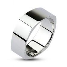 Szögletes acél gyűrű - fényes ezüst felület