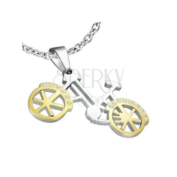 Medál, ezüst - arany bicikli, apró cirkóniák