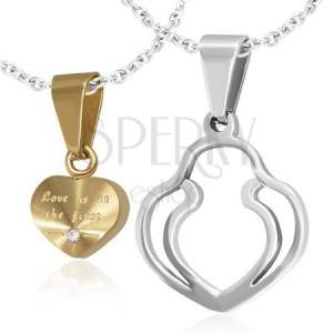 Medál pároknak - arany szív, kettős szív vázlat, cirkónia