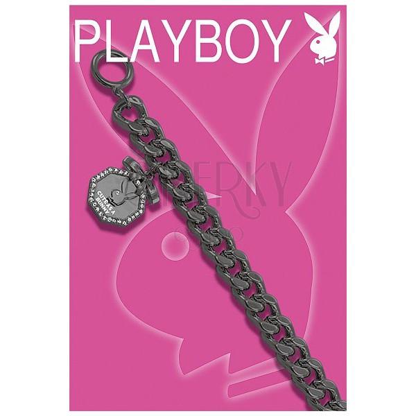 Vastag fekete Playboy karkötő - nyolcszög és nyuszifej