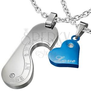 Acél medálok - szív és felirat, kék és ezüst