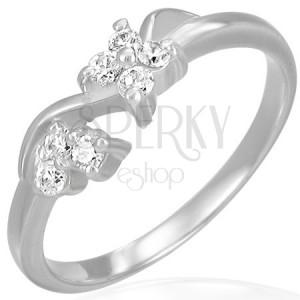 Acél eljegyzési gyűrű - cirkónia virágok és hullám